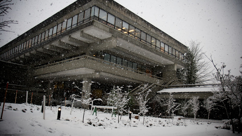 Photo: A Snowy Strand Hall at Simon Fraser University, December 12, 2008, photo by Graham Ballantyne, downloaded from flikr under a Creative Commons Attribution-NonCommercial-NoDerivs 2.0 Generic license