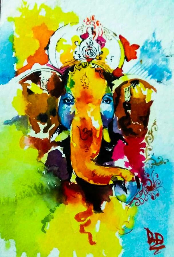 Ganesha by Hrijul Dey - Painting All Painting ( art, hindu, portrait, god, elephant )