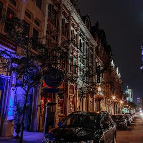 St. Lawrence by Ralph Sobanski - City,  Street & Park  Street Scenes ( canada, toronto, street, cn tower, night, long exposure, city, lights )