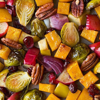Autumn Roasted Veggies with Apples and Pecans.