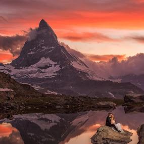 The sky is on fire by Marius Igas - Wedding Bride & Groom ( zermatt, reflection, sunset, switzerland, matterhorn )