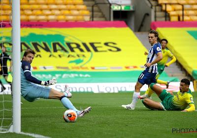Leandro Trossard scoorde voor Brighton het enige doelpunt van de partij tegen Norwich