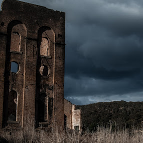 by Carley Reed - Buildings & Architecture Public & Historical ( colour, sky, blue, dark, ruins, storm, landscapes )