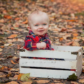 Charlie by Jenny Hammer - Babies & Children Babies ( fall, leaves, baby, cute, boy, colors )