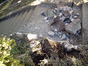 Photo: Debris from removal of  damaged retaining wall on Hidden Garden Steps (16th Avenue, between Kirkham and Lawton streets in San Francisco's Inner Sunset District) in December 2012; for more information about the Hidden Garden Steps project, please visit http://hiddengardensteps.org.