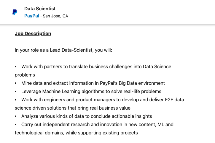 Data Scientist Job in PayPal