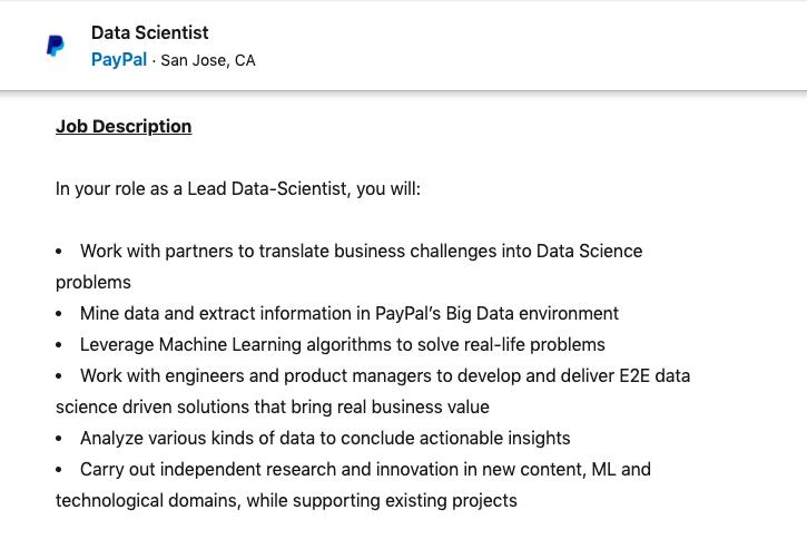 Data Scientist Job in PayPal