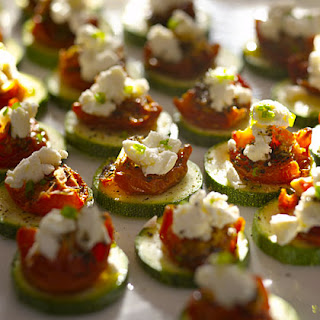 Crunchy Zucchini Rounds With Sun-Dried Tomatoes and Goat Cheese.