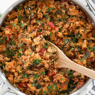 Tomato Herb Rice with White Beans and Spinach Recipe