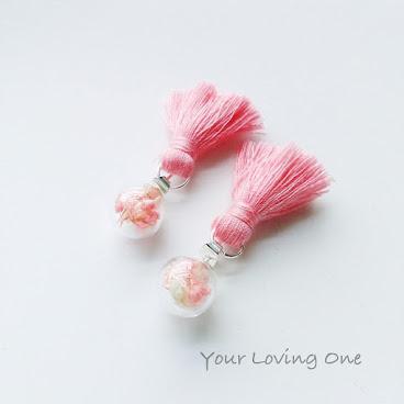 深粉紅色流蘇耳環