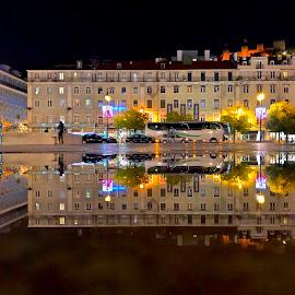 Figueira Square by Luis Palma - City,  Street & Park  Street Scenes ( lisbon rain reflex mirror )