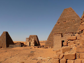Photo: the pyramids of Merowe, nestled in the sand dunes of West Sudan