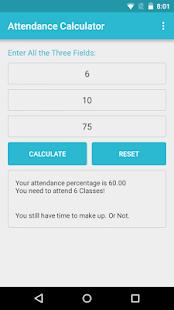 Attendance Calculator screenshot