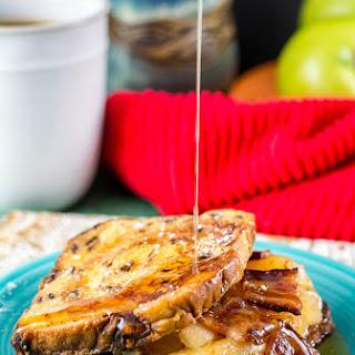 Apple Maple Bacon Stuffed Cinnamon Raisin French Toast.