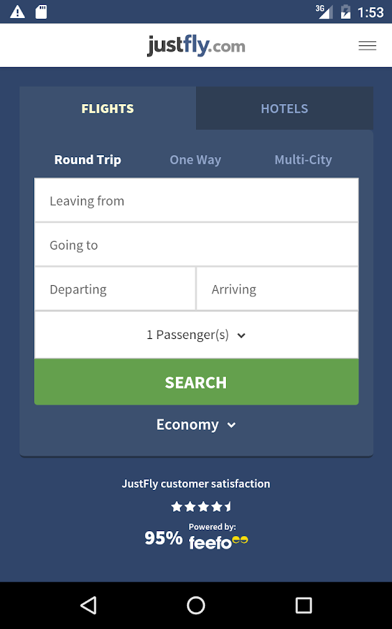 Justfly.com - Book Cheap Flights, Hotels and Cars- screenshot