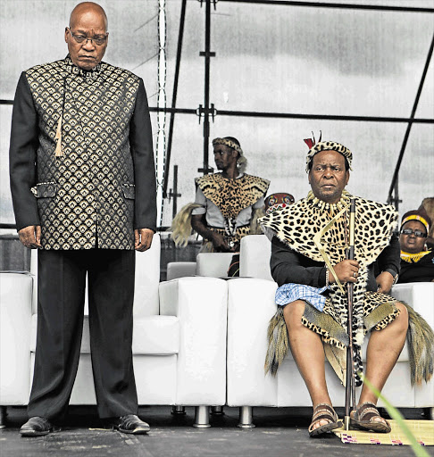 President Jacob Zuma and King Goodwill Zwelithini at Sunday's event in Nquthu, northern KwaZulu-Natal, at which the 133rd anniversary of the Battle of Isandlwana was commemorated. The king has been accused of insulting gays Picture: TEBOGO LETSIE