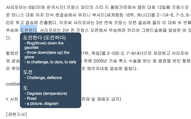 Toktogi: A Korean-English Popup Dictionary