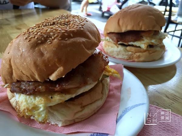明奎早餐店 超推燒肉漢堡蛋跟鮮奶茶