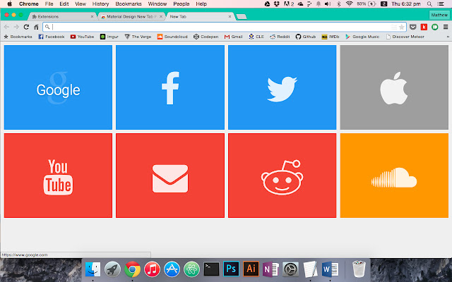 Material Design New Tab Page