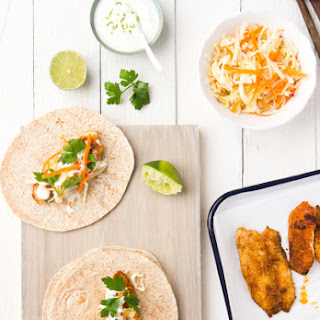 Fish Tacos with Coleslaw and Lime Yogurt