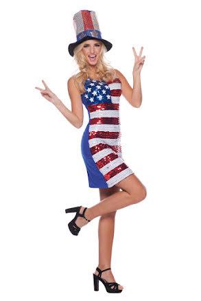 Dräkt, USA-klänning med paljetter