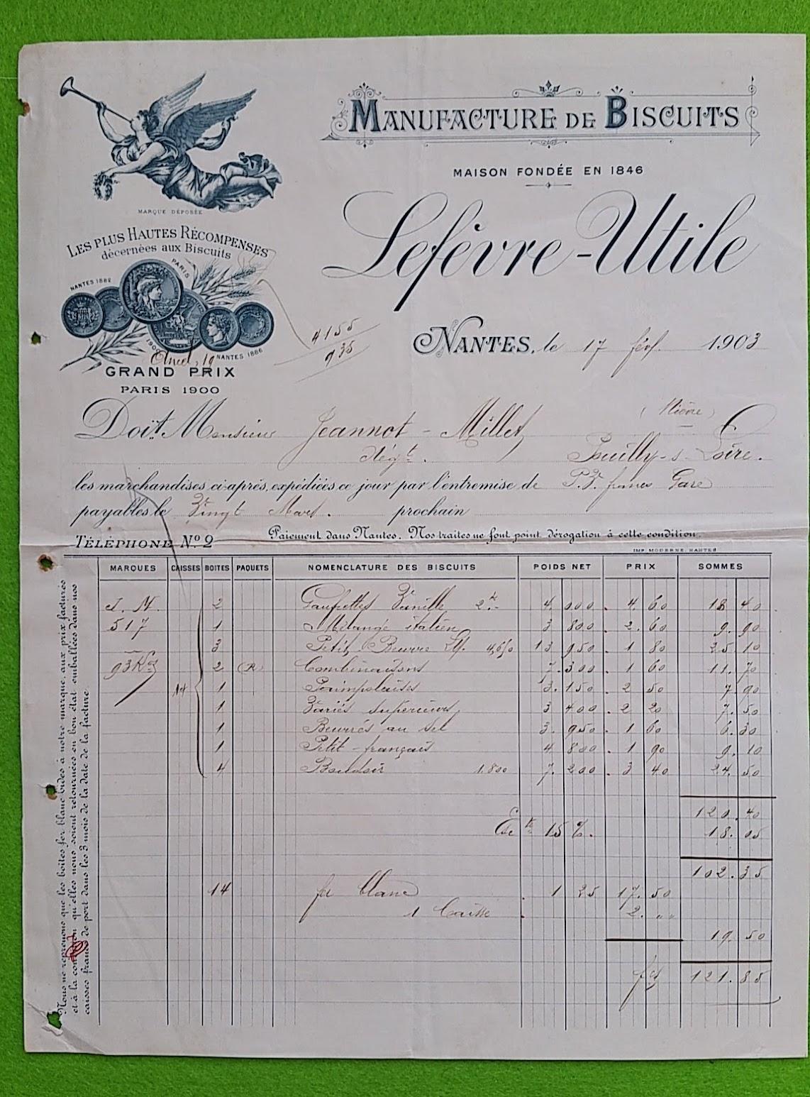 Rechnung für Kekse von Lefevre-Utile  vom 17. Februar 1903