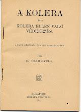 """Photo: """"A kolera és a kolera ellen való védekezés""""  Ezt az 1911-ben, a Légrády testvérek által kiadott könyvet a kiváló orvos, közegészségügyi szakember dr. Oláh Gyula írta. A mindössze 61 oldalas munka a laikusok számára is érthető módon írja le a betegség tüneteit és az azzal kapcsolatos tüneteket. Tanácsokat ad az ellene való védekezésre (fertőtlenítési módok, életmód és táplálkozás a járvány alatt, tünetek stb.). a szerző egyébként """"kolera specialistának"""" is tekinthető, hiszen pályája során több könyvet és tanulmányt írt a betegségről. 3. kép  Szám nélküli irat. 1911."""