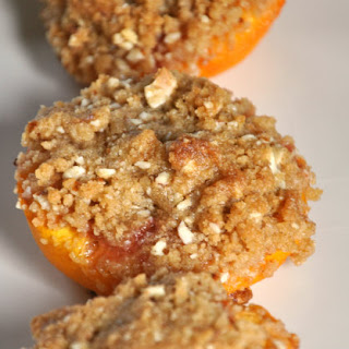 Roasted Peaches with Vanilla Wafer, Almond, and Brown Sugar Crumble.