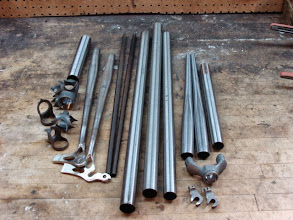 Photo: 9:30am, Columbus SLX tubes, a collection of Henry James and Long Shen lugs and of course my Ellis dropouts.  (I brazed up the chainstays a couple weeks ago, along with a couple other sets, so I have a slight head start.)