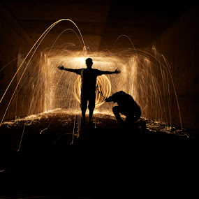 Fear Me by Jordan Wangsgard - Abstract Light Painting ( steel wool, orb, silhouette, long exposure, sparks, light, painting, fire, wall, bounce, tunnel )