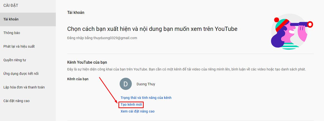 Tạo thêm kênh youtube (2)