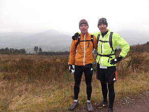 Photo: Shane Mc Carville on his 52 marathons in 52 weeks challenge with Ger O' Brien, 100 Marathon Club Ireland members, on the Slievenamuck Marathon, March 24th, 2013.