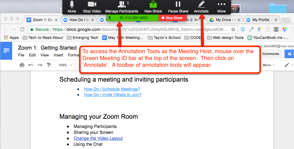 Screenshot showing the meeting ID bar and Annotate buttons in Zoom