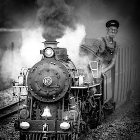 Romney, Hythe and Dymchurch Railway, Dr Syn at Botolph's Bridge Crossing. by Phil Clarkstone - Transportation Trains ( narrow, monochrome, railway, british, hythe, kent, romney, gauge, dymchurch, steam )