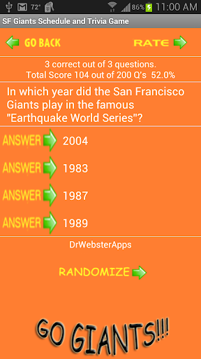 Schedule and Trivia Game for SF Giants fans apktram screenshots 4