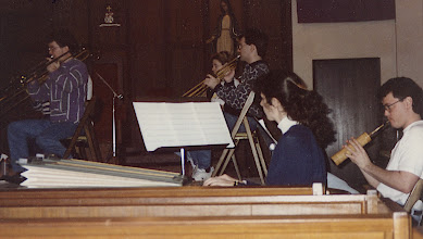 Photo: March 1994; Philipus Jacobus Rittler Missa Carolina à 24 from 1675 in its first modern performance. Jerry Cain, racket, Reeves Ely, harpsichord, Ben Pringle, sackbut, Darin Obrecht, Julie Nease, natural trumpets.