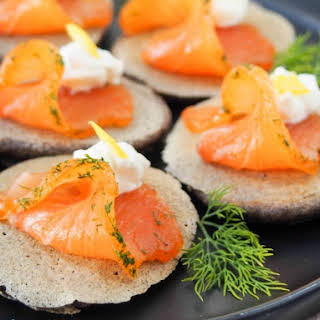 Blini With Smoked Salmon (or Gravlax).