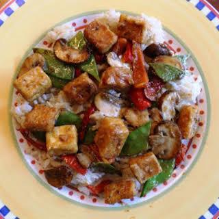 Vegan Tofu Stir-fry with Vegetables in Peanut Sauce.