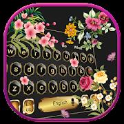 ربيع أسود لوحة المفاتيح موضوع الزهور