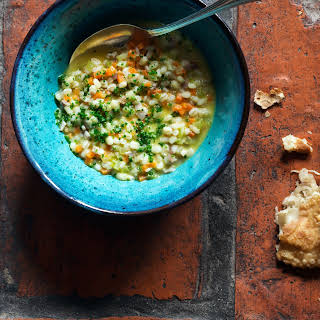 Pearl Barley Soup with Moscato d'Asti.