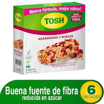Barra de Cereal Tosh con   Trozos de Arándanos y Nueces Caja x 6Uni