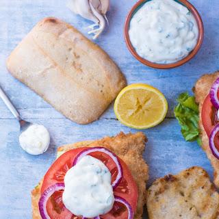 Crispy Baked Chicken Burger with Creamy Lemon Basil Sauce Recipe