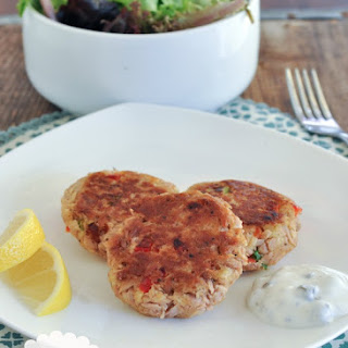 Tuna Cakes with Lemon Caper Dipping Sauce.