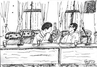 Photo: 會前閒聊2010.09.29鋼筆 公務人員開會不是為了解決事情,而是上面長官為了宣佈事情,然後要求下屬背書… 昨天才和同事聊到,我們可能還不是大機器裡的小螺絲,而是被磨耗下來的小鐵屑…
