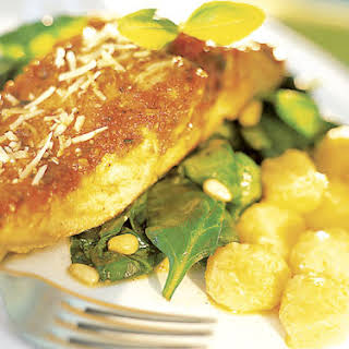 Salmon Puttanesca Over Spinach With Buttered Gnocchi.
