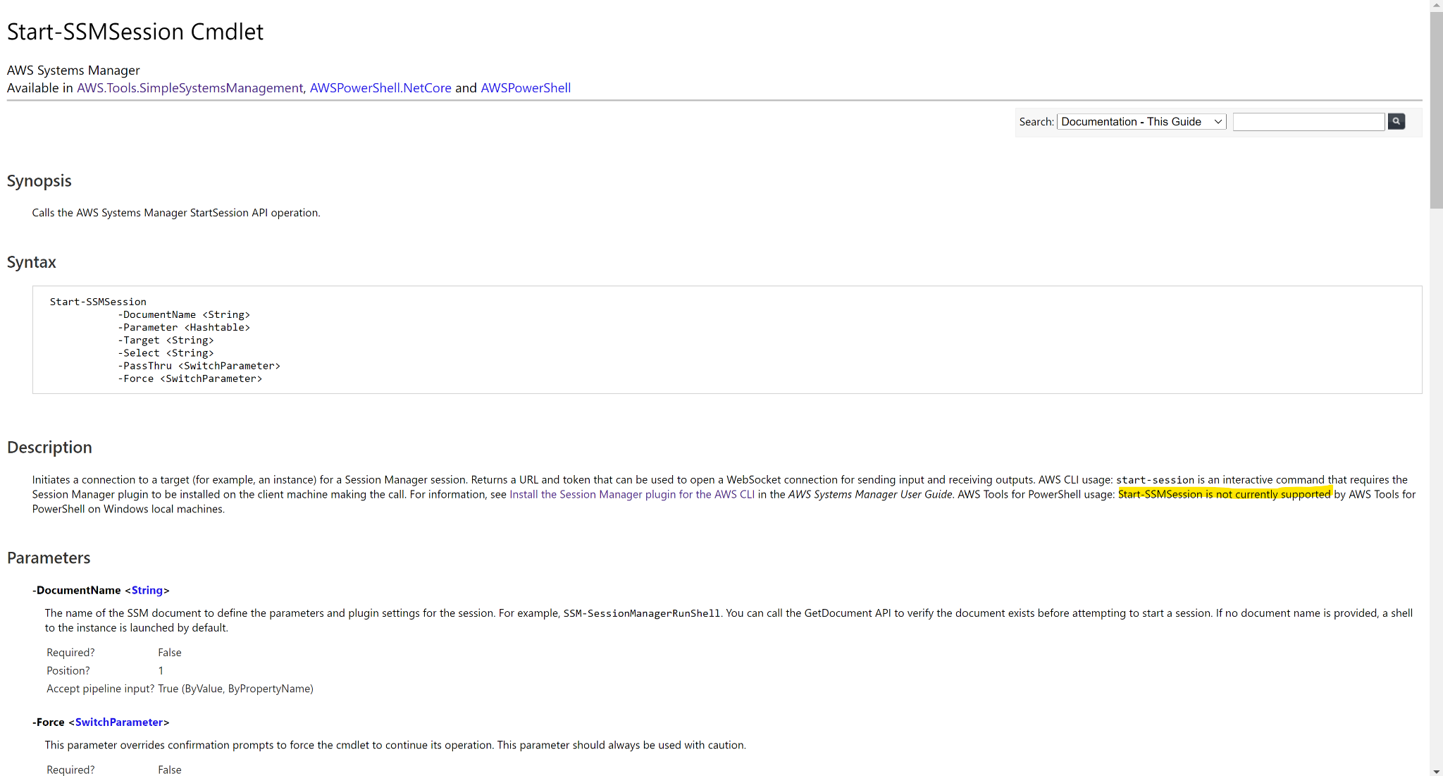 screenshot of Start-SSMSession PowerShell Command