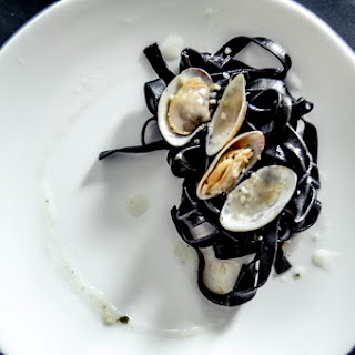 Squid Ink Fettuccine With Clams And White Wine
