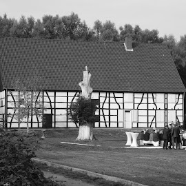 A traditional german house (Fachwerkhäusern) by Svetlana Saenkova - Black & White Buildings & Architecture ( yard, traditional, germany, geometric, pattern, fachwerkhäusern, house,  )