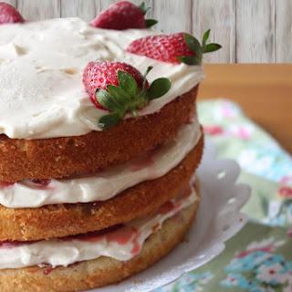 3 Layer Victoria Sponge Cake with Cream and Strawberries Recipe
