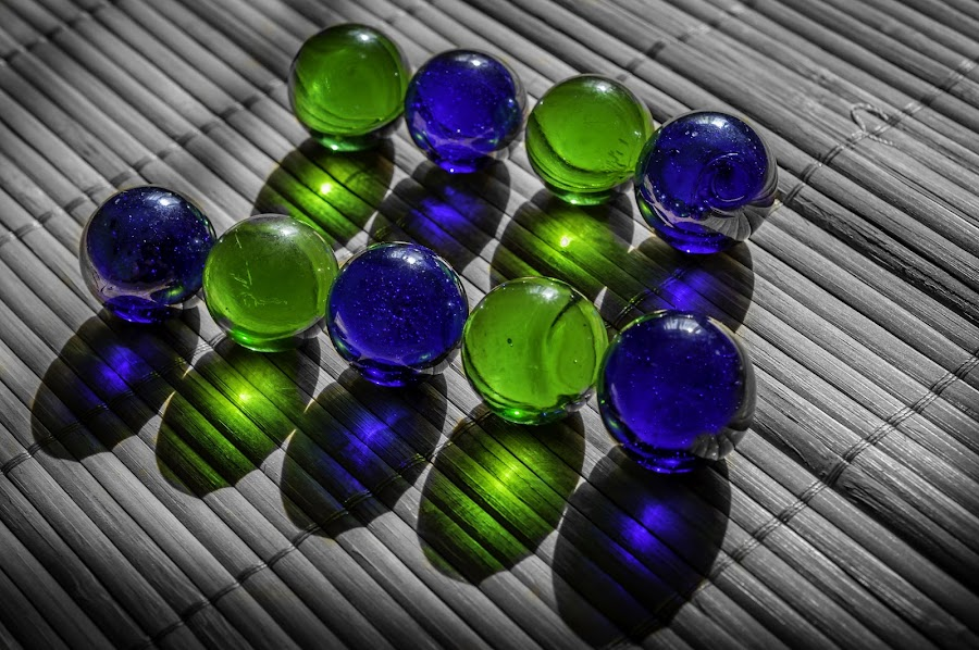 Marbles by Ovidiu Sova - Artistic Objects Other Objects ( transparency, blue, green, colors, marbles, glowing,  )